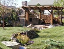 Full Backyard Landscape with patios, pergola, water feature, and outdoor fireplace