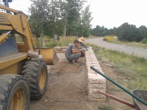 Building the sitting wall