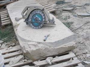 Cutting two stone steps out of 11' slab of rock